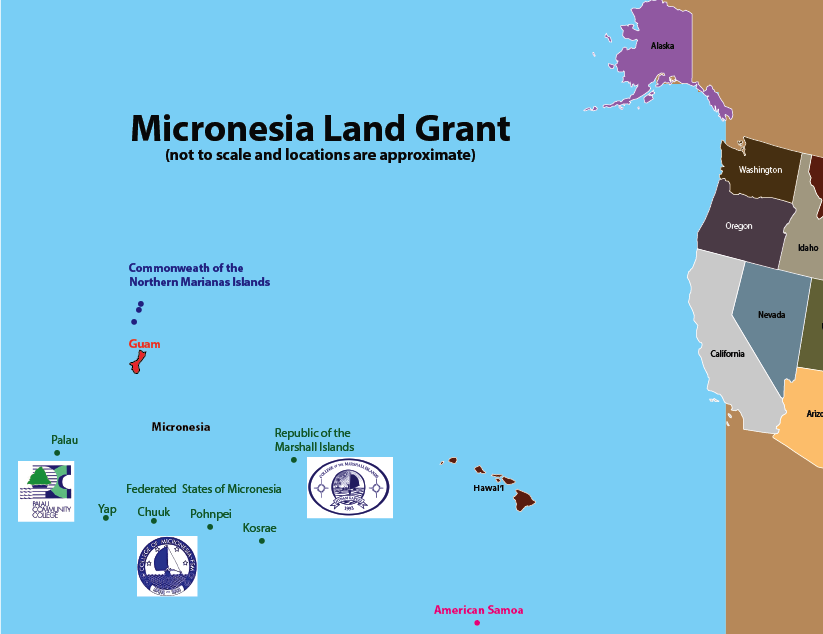 Locations of the three Micronesia Land Grant Partner colleges.
