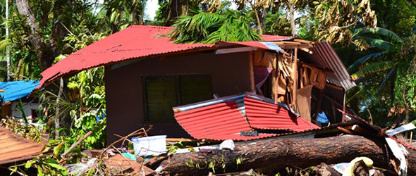Damaged house in Ngaraard State.